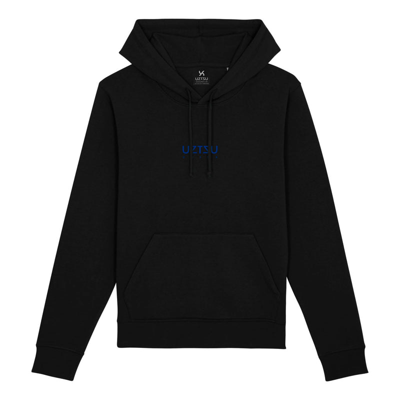products/Uztzu-Logo-Small-Blue-black-hooded-sweatshirt-front.jpg