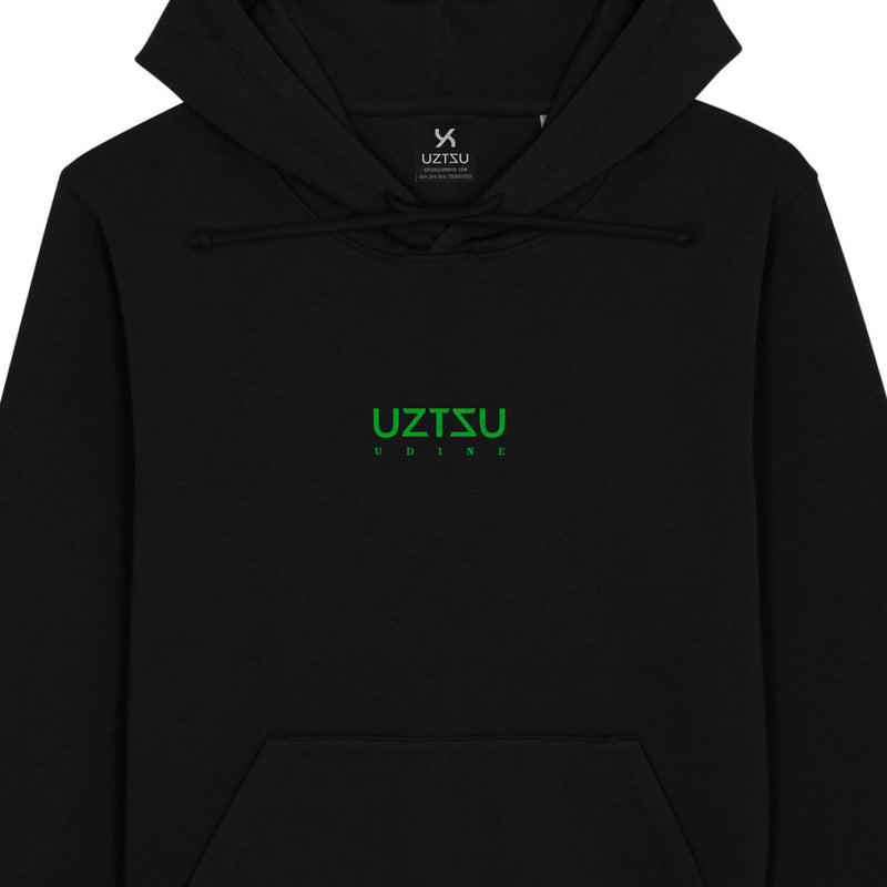 products/Uztzu-Logo-Small-Green-black-hooded-sweatshirt-front-detail.jpg
