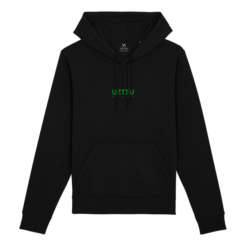 products/Uztzu-Logo-Small-Green-black-hooded-sweatshirt-front.jpg