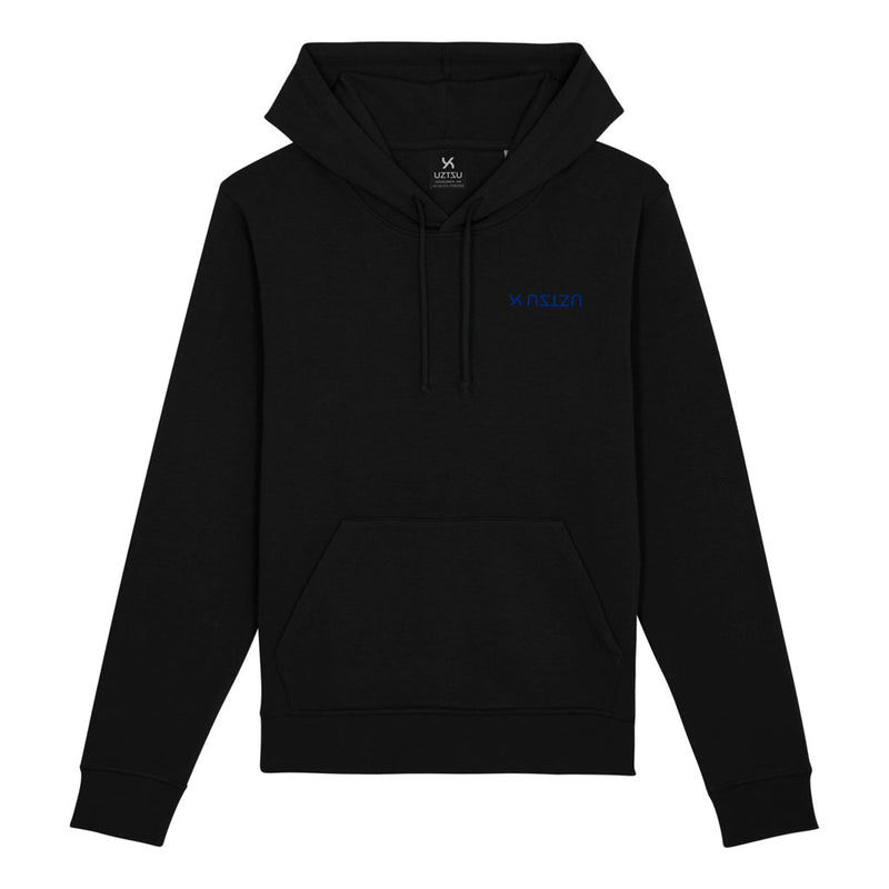 products/Uztzu-Logo-Upside-Down-Blue-black-hooded-sweatshirt-front.jpg