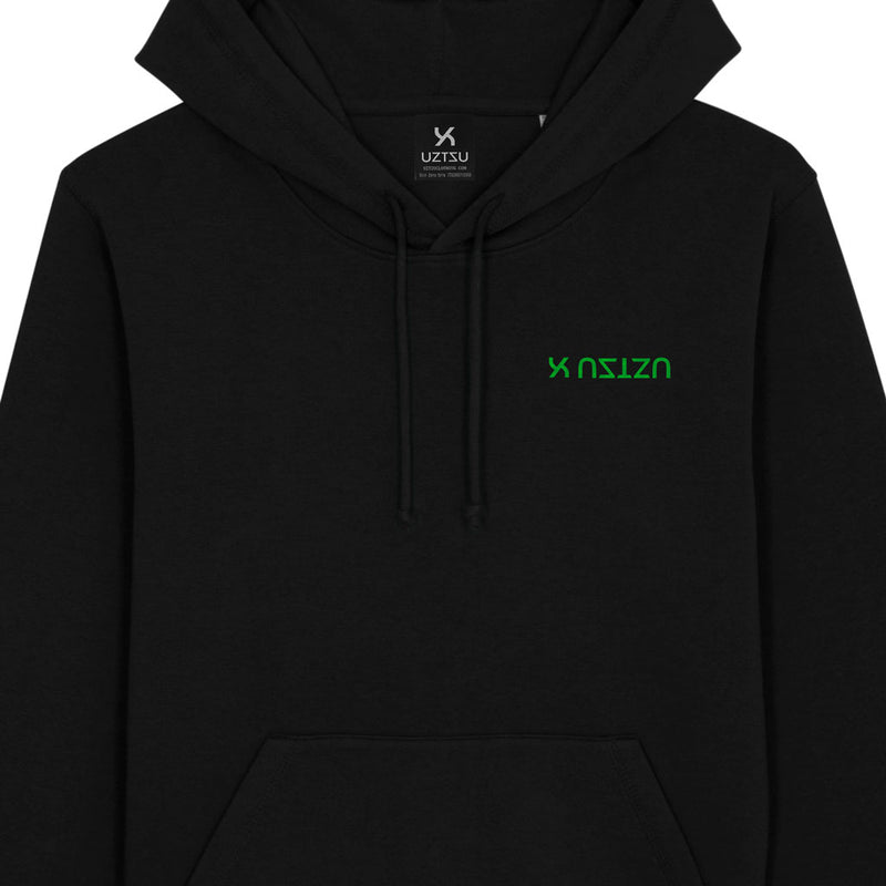 products/Uztzu-Logo-Upside-Down-Green-black-hooded-sweatshirt-front-detail.jpg