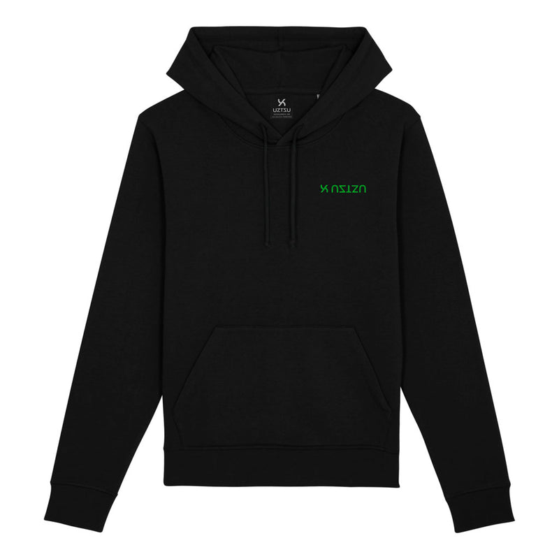 products/Uztzu-Logo-Upside-Down-Green-black-hooded-sweatshirt-front.jpg