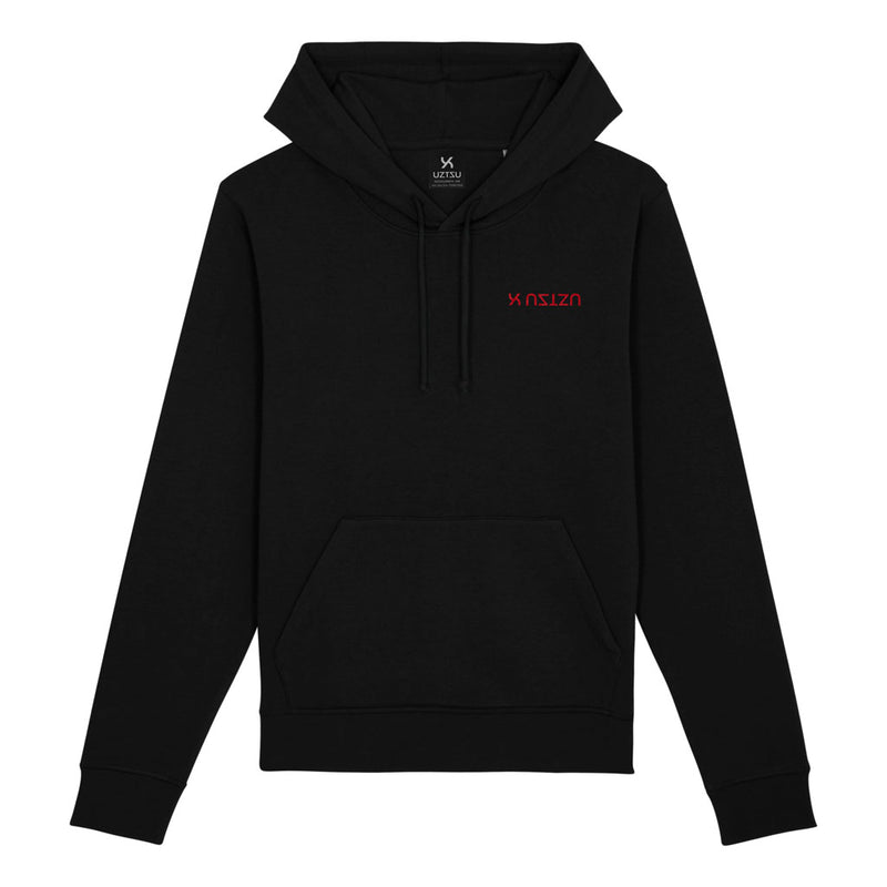 products/Uztzu-Logo-Upside-Down-Red-black-hooded-sweatshirt-front.jpg