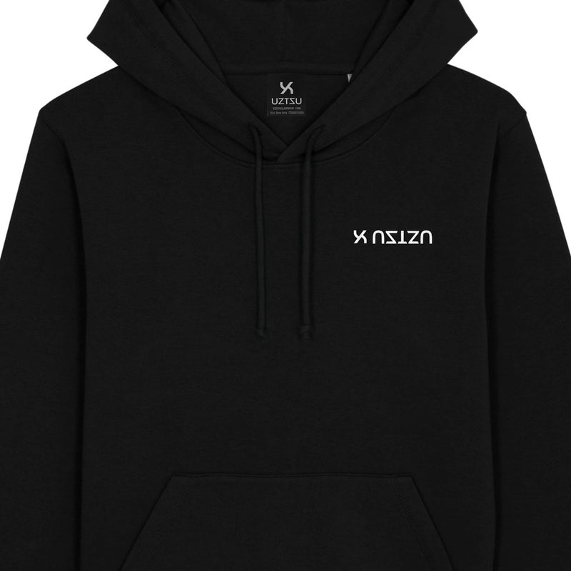products/Uztzu-Logo-Upside-Down-White-black-hooded-sweatshirt-front-detail.jpg