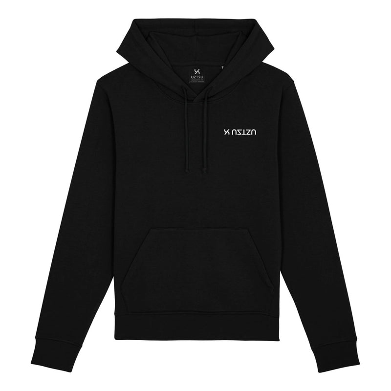 products/Uztzu-Logo-Upside-Down-White-black-hooded-sweatshirt-front.jpg