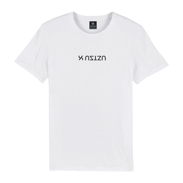 White Organic Cotton Logo Upside Down Print T-shirt UZTZU®