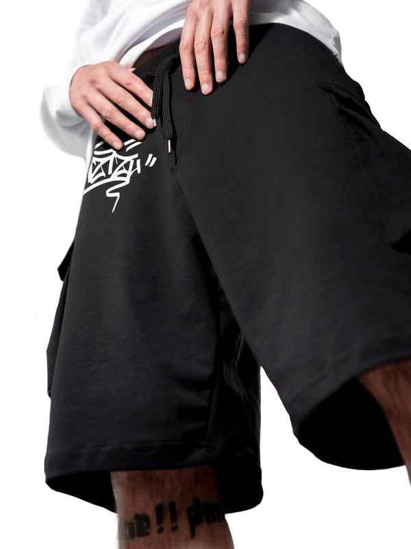 Black Cargo Short Sweatpant Graffiti Tag UZTZU® - Uztzu Clothing - Shop Super 4X4 T-shirts, Pants and hoodies online!