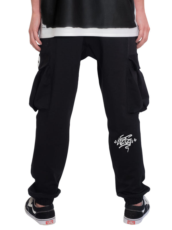Black Cargo Jogger Sweatpant Graffiti Tag UZTZU® - Uztzu Clothing - Shop Super 4X4 T-shirts, Pants and hoodies online!