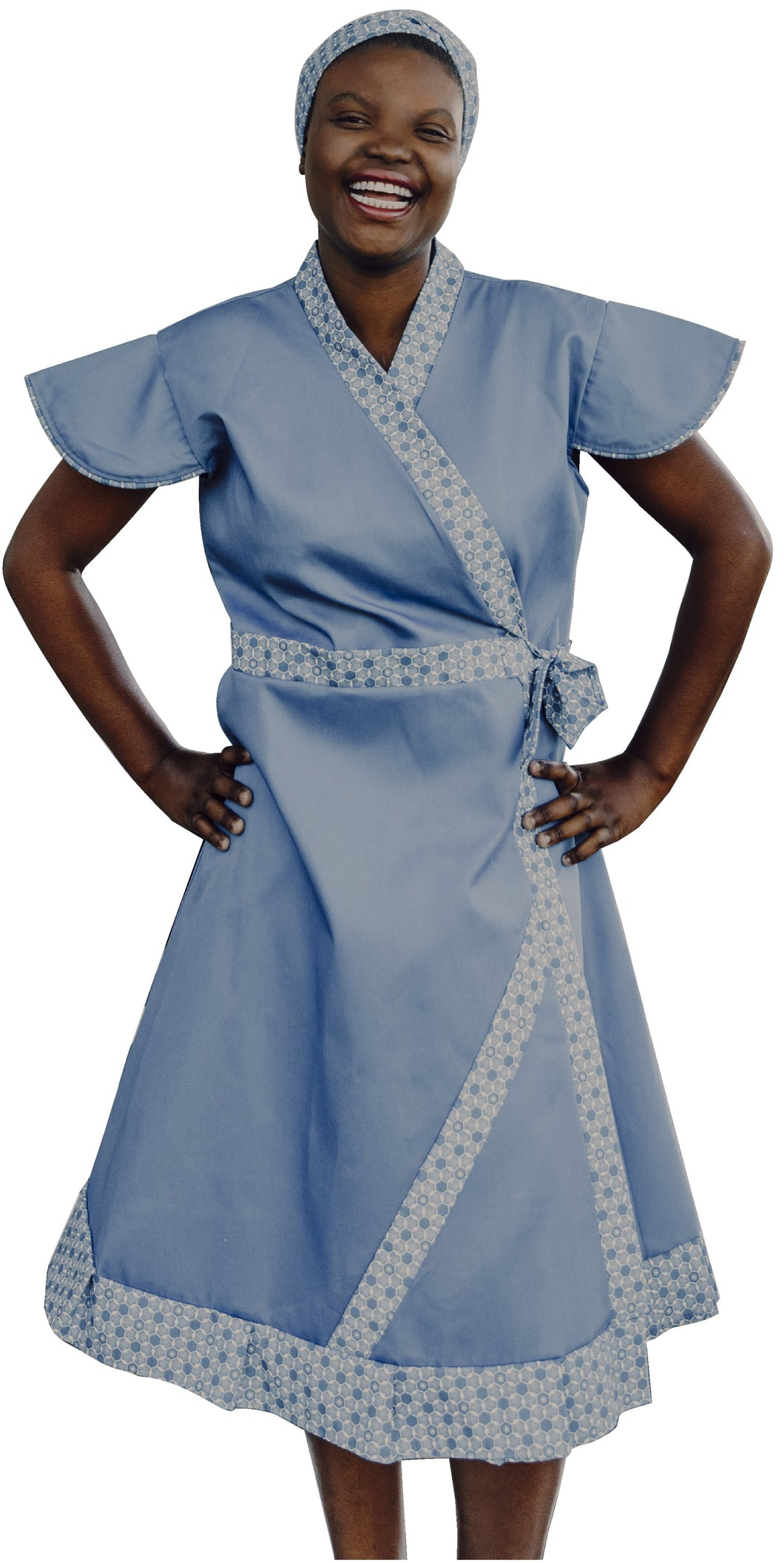 Blue cotton twill dress
