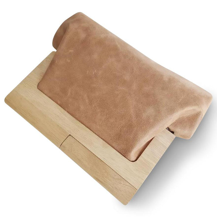 LEATHER AND TIMBER CLUTCH - CAMEL