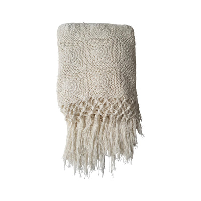 FREE SPIRIT CROCHET THROW WITH TASSELS - CREAM
