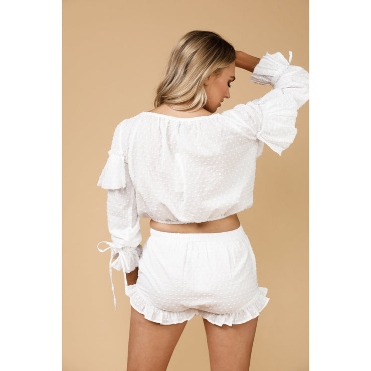 PIPER LONG SLEEVE TOP - WHITE DOBBY