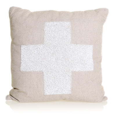 SWISS CROSS BEADED CUSHION - NATURAL & WHITE