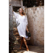 NIKITA LINEN DRESS - WHITE