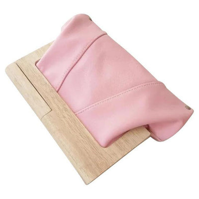 LEATHER & TIMBER CLUTCH - SHERBET PINK