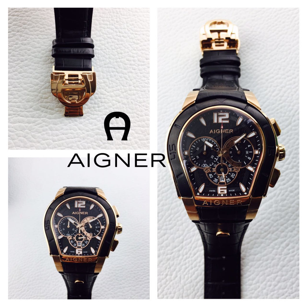 Aigner Leather Black Strip Frame Gold Inside Watch For Women