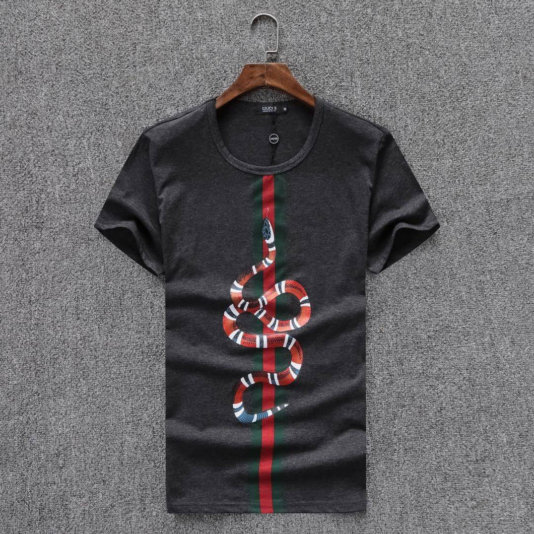 074917bc5 Gucci Men T-Shirt Gray Color , Green & Red Line , Snake Print ...