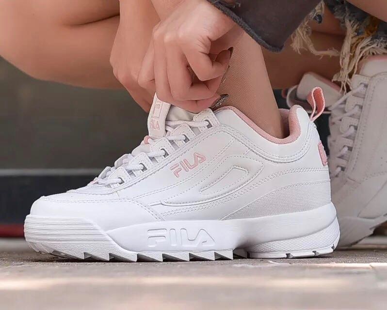 Fila Women Shoes Full White Color , Fila Letter Pink Color