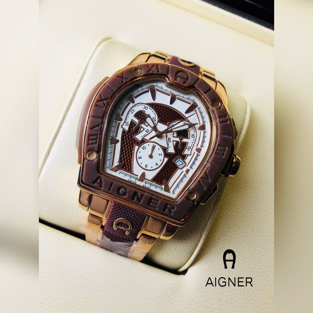Aigner Men Watches Stainless Steel Strip Brown Gold Color Watch Women Frame