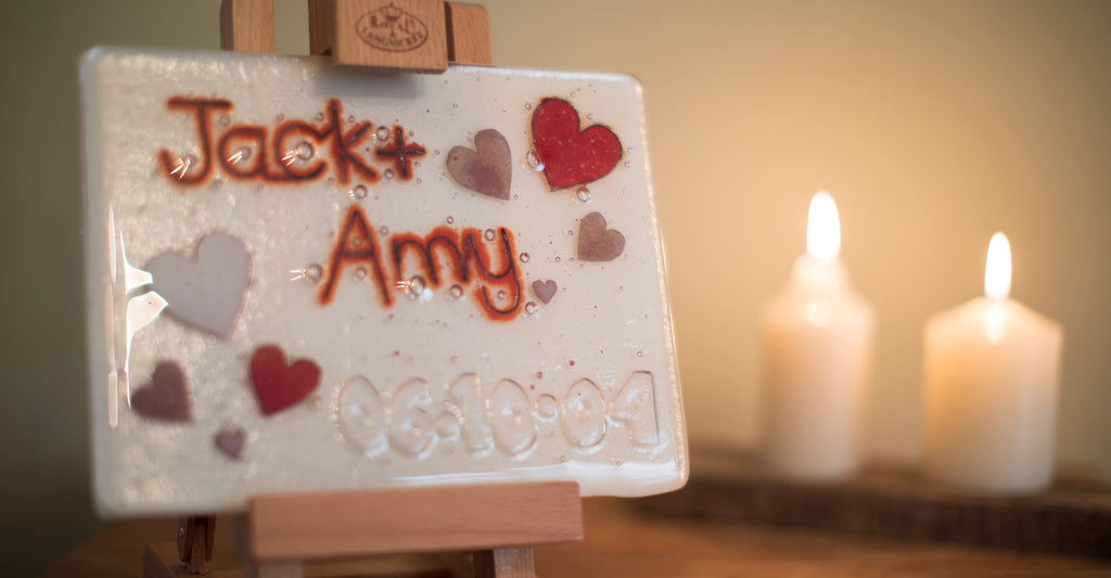 Well Made Stuff Celebrate someone special. Give a unique gift with our personalised fused art glass panels - hearts and candles - for a wedding or anniversary.