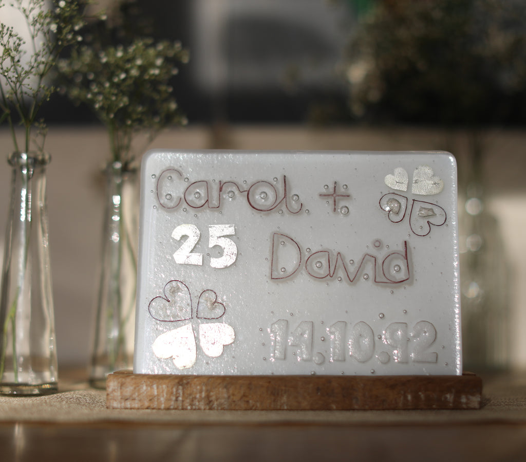 25th Silver Wedding Anniversary Personalised Glass Panel 200 x 150mm size on table