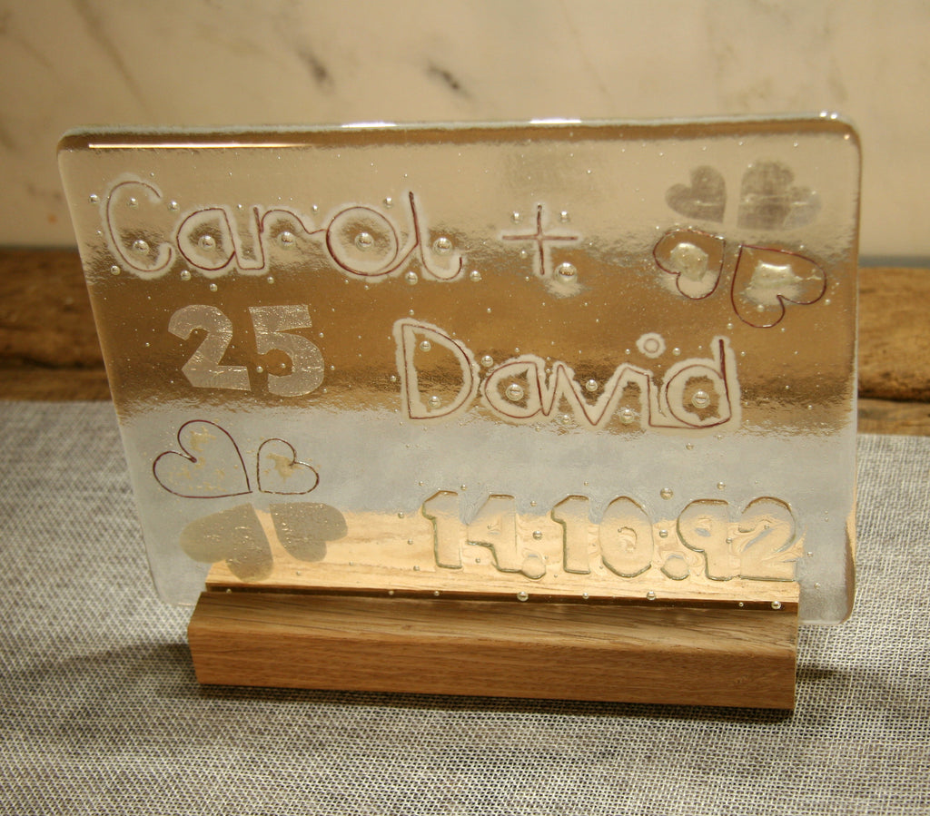 25th Silver Wedding Anniversary Personalised Glass Panel 200 x 150mm size