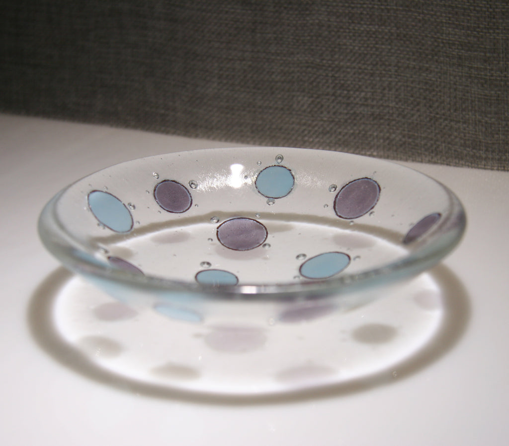 Well Made Stuff - Handmade light cyan opal and deep royal purple spot design small bowl - designed for your home or as a gift - fun contemporary design