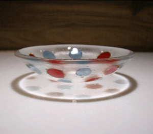Well Made Stuff - Handmade aquamarine blue and deep red opal spot design small bowl - designed for your home or as a gift - fun contemporary design