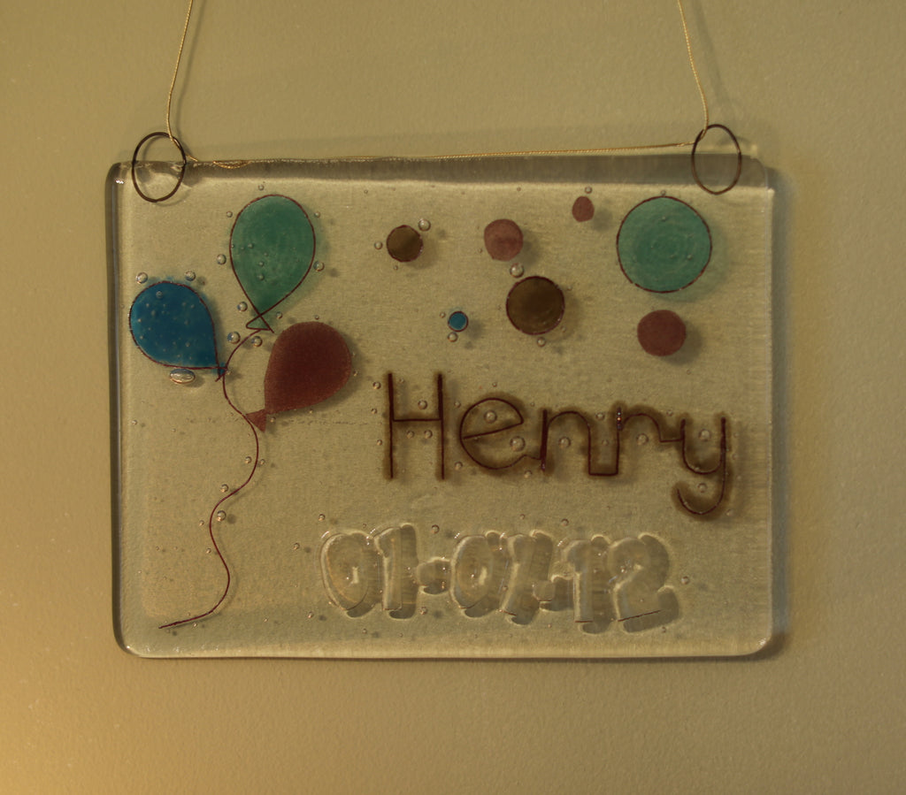 Balloons Design Personalised Life Event (eg birthday) Glass Panel 200 x 150mm size on wall