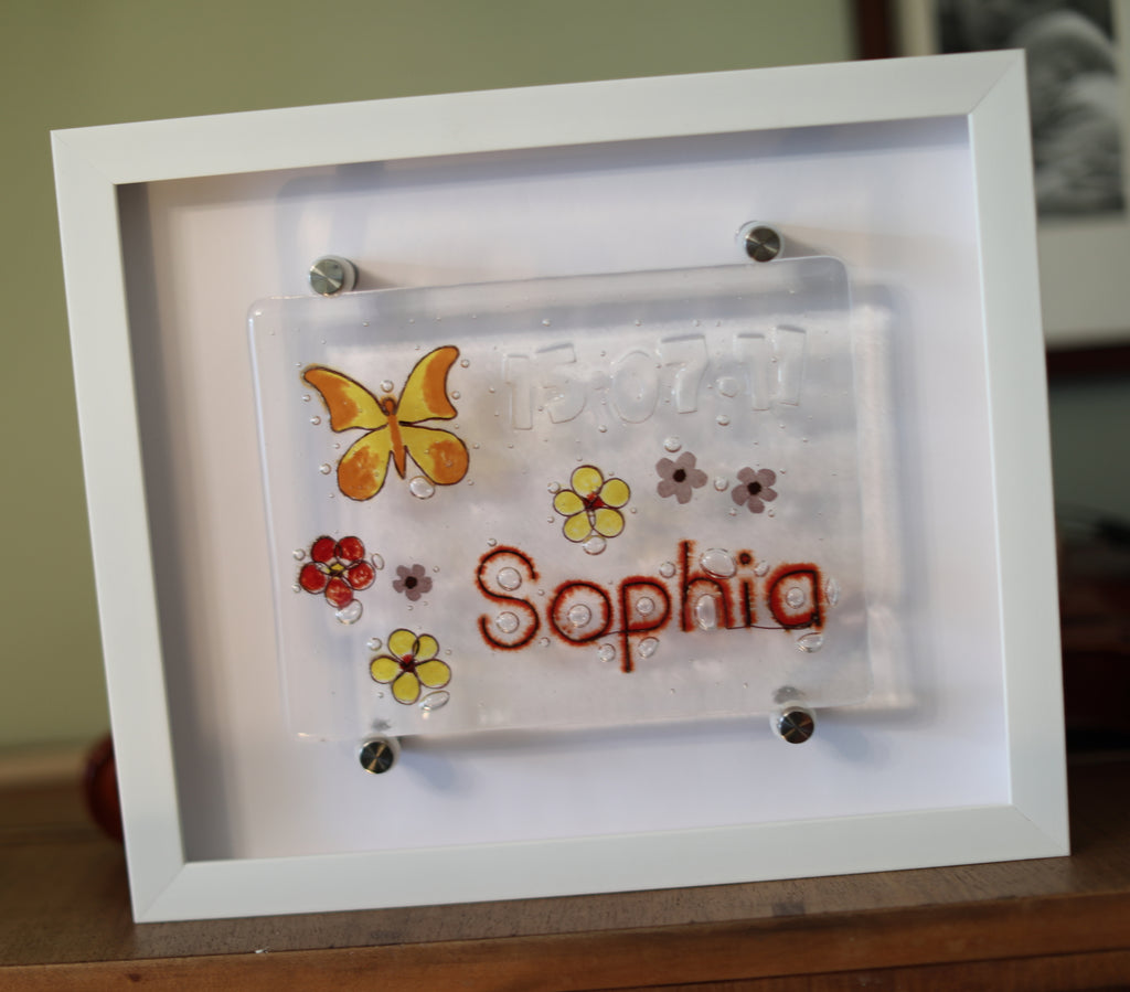 Butterfly and Flowers Design Personalised Life Event (eg birthday) Glass Panel 200 x 150mm size in frame