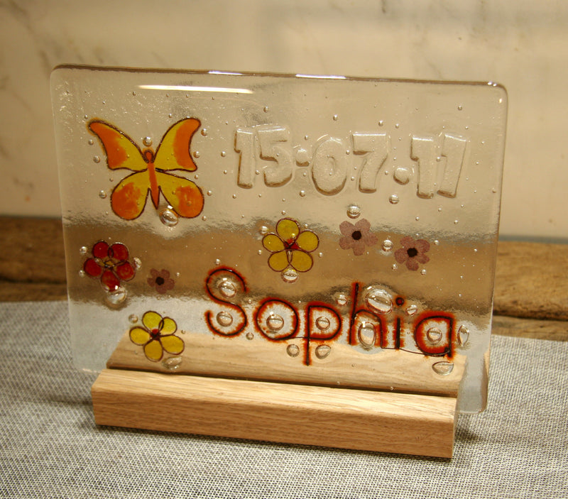 Butterfly and Flowers Design Personalised Life Event (eg birthday) Glass Panel 200 x 150mm size