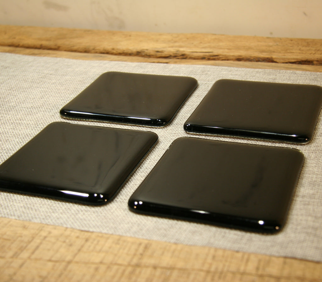 Charcoal grey transparent fused art glass coaster 100x100mm size