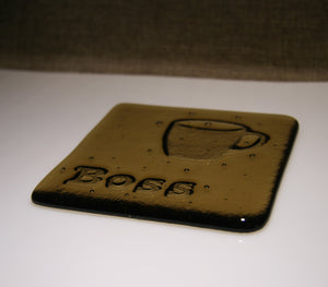 Well Made Stuff - Handmade fused art glass personalised honour coaster - Coffee Cup - Light Bronze
