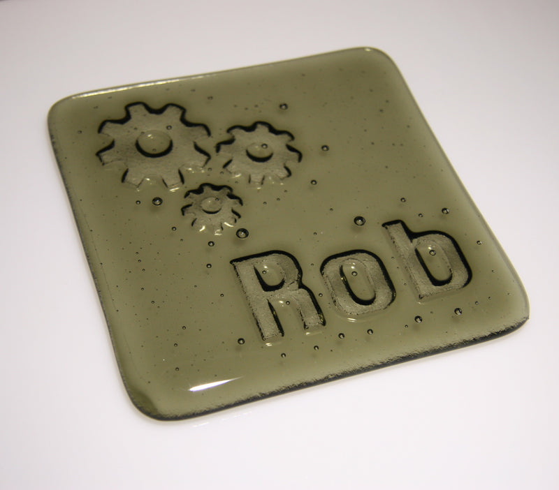 Well Made Stuff - Handmade fused art glass personalised honour coaster - Cogs - Oregon Grey
