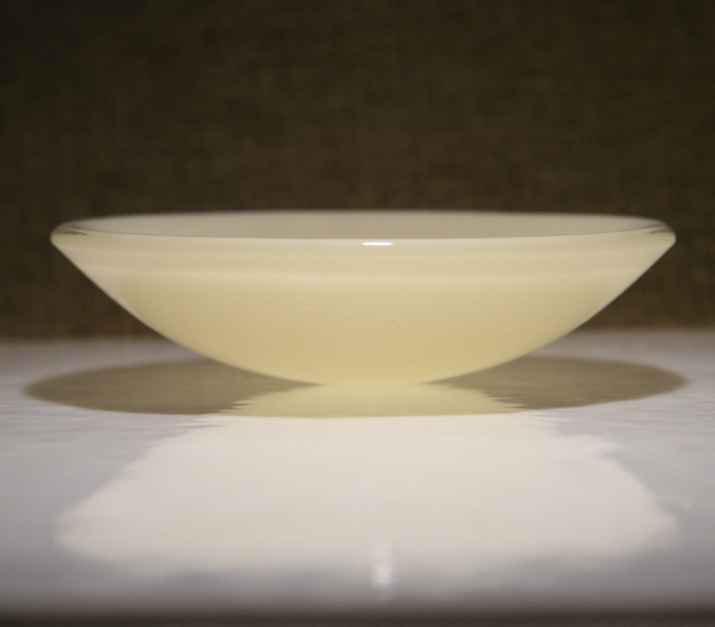 Well Made Stuff - Handmade cream opal fused art glass bowl designed as a gift to give