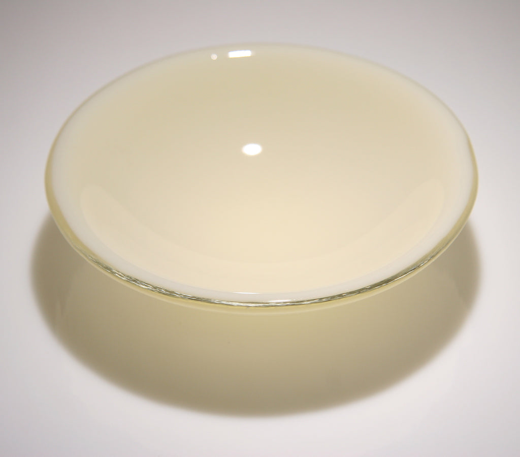 Well Made Stuff - Handmade cream opal fused art glass bowl designed as a gift to give - beautiful glass