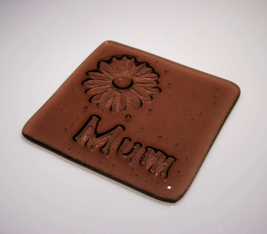 Well Made Stuff - Handmade fused art glass personalised honour coaster - Daisy - Light Plum Transparent Glass