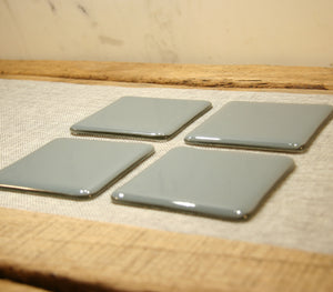 Deco grey opal fused art glass coaster 100x100mm size angled view