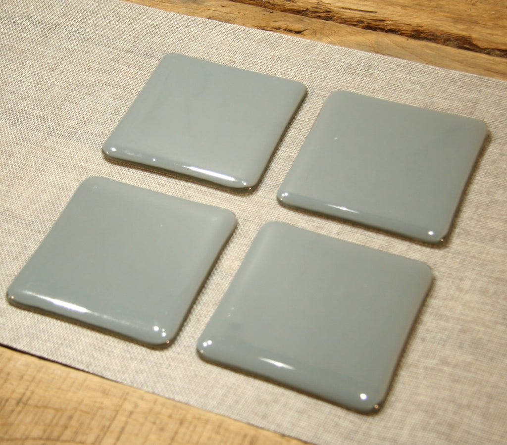 Deco grey opal fused art glass coaster 100x100mm size