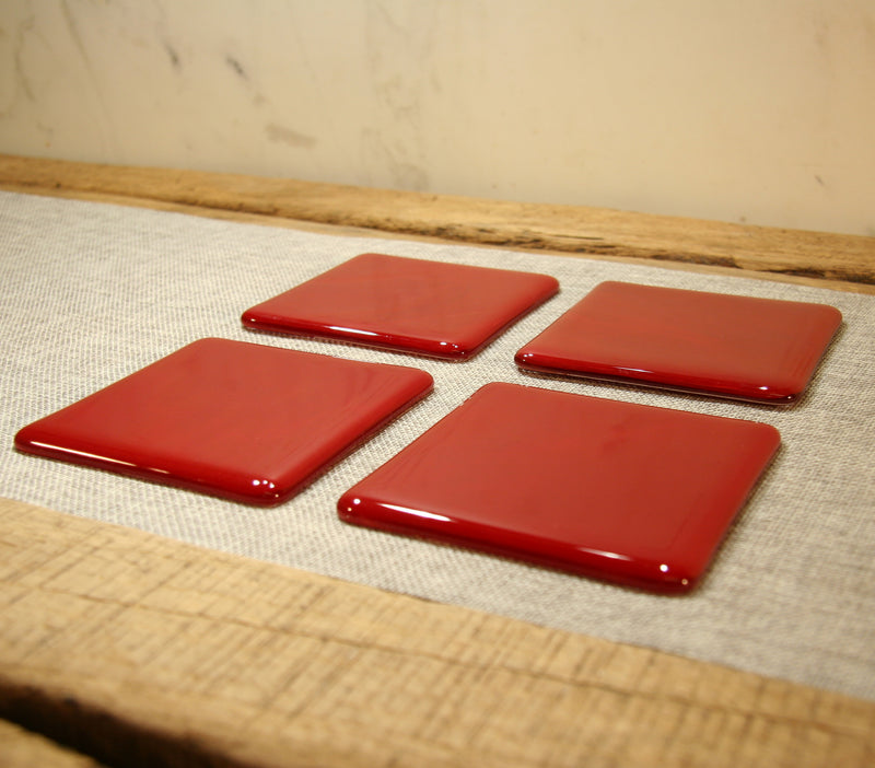 Deep red opal fused art glass coaster 100x100mm size