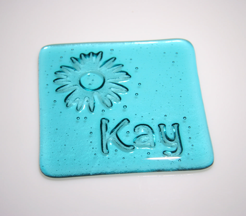 Well Made Stuff - Handmade fused art glass personalised honour coaster - Flower Burst - Aquamarine Blue Transparent Glass