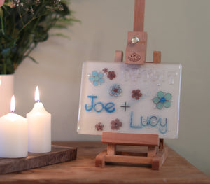 Flowers Design Personalised Couples Life Event (eg wedding) Glass Panel 200 x 150mm size on easel