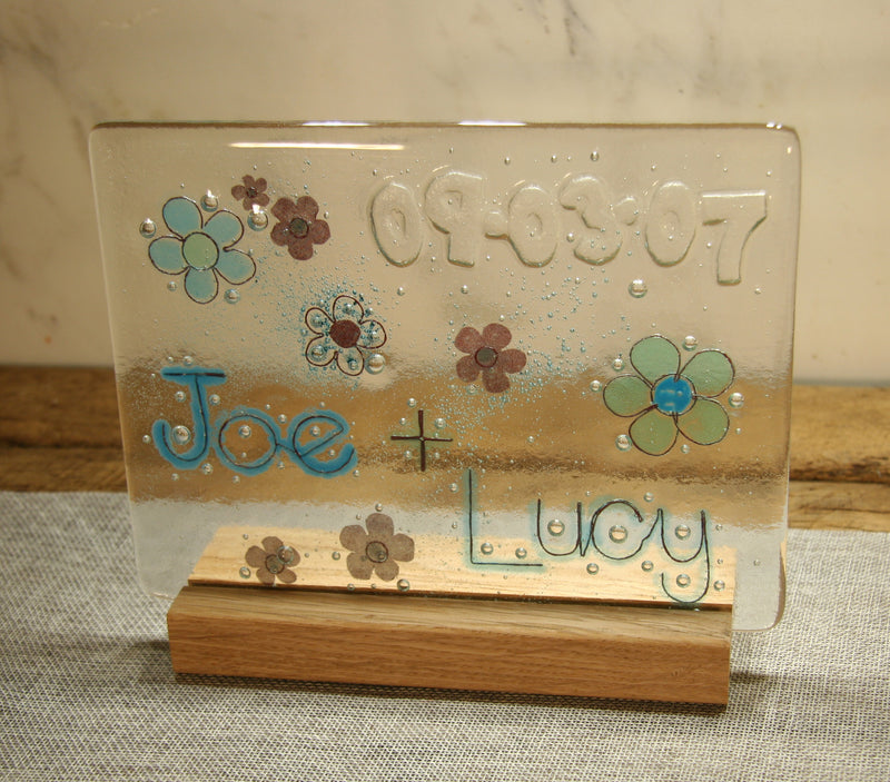 Flowers Design Personalised Couples Life Event (eg wedding) Glass Panel 200 x 150mm size