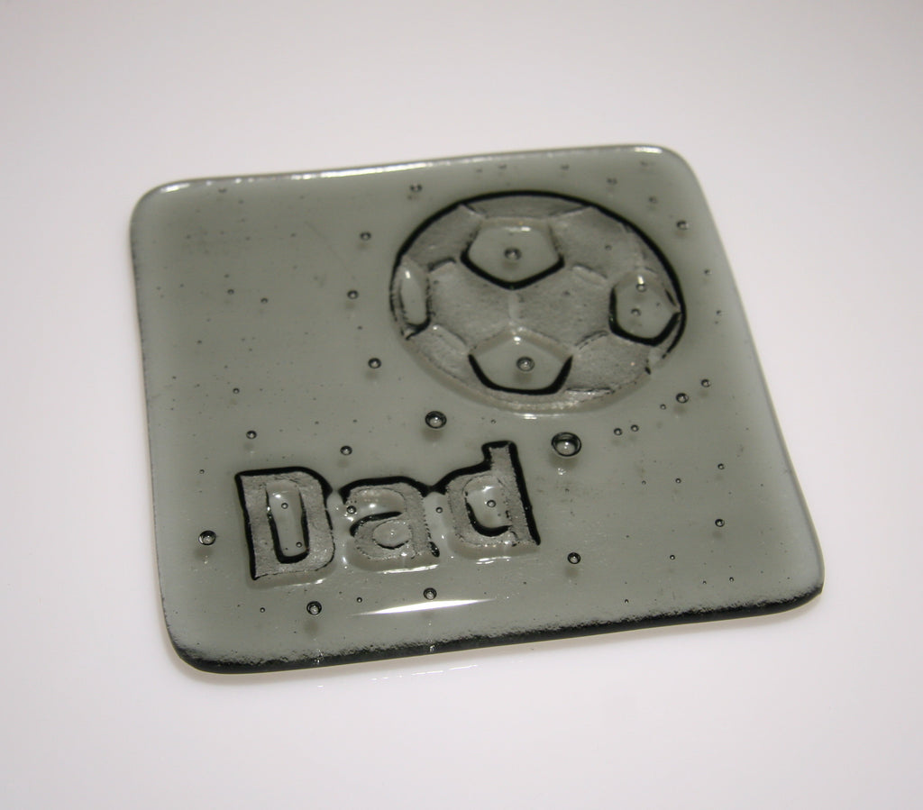 Well Made Stuff - Handmade fused art glass personalised honour coaster - Football - Light Silver Grey Transparent Glass