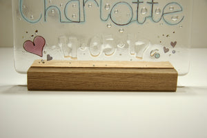 Handmade solid oak stand for personalised art glass panels - Well Made Stuff