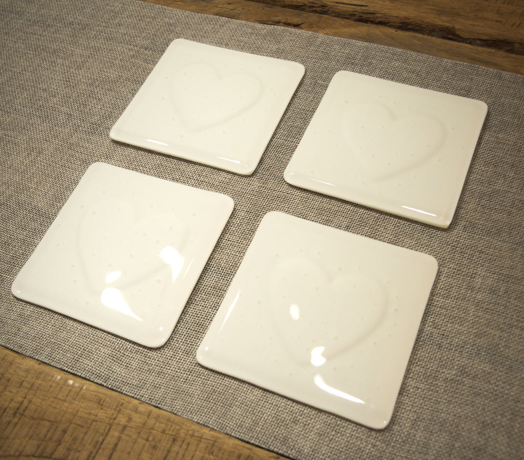 Heart impression design white fused art glass coaster 100x100mm size