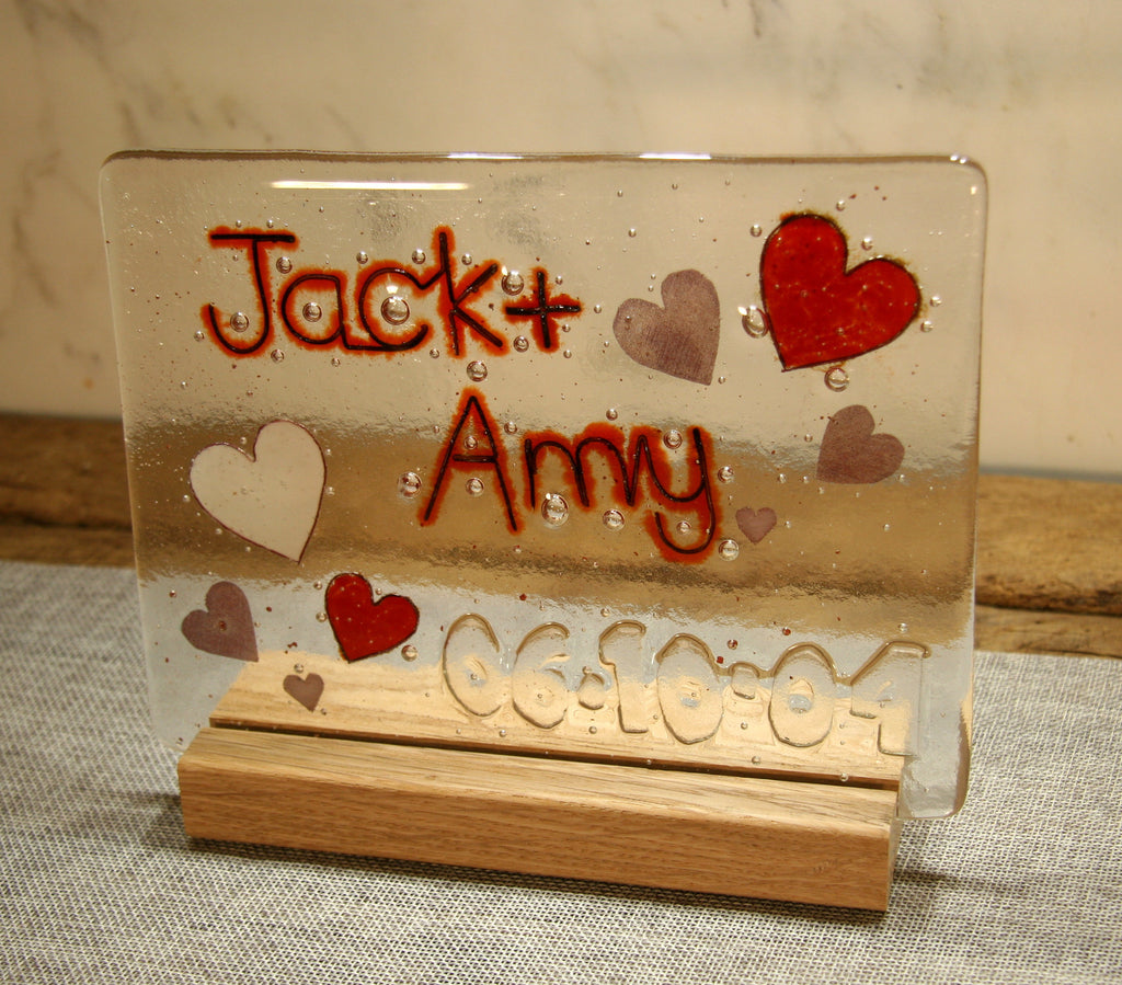 Hearts Design Personalised Couples Life Event (eg wedding) Glass Panel 200 x 150mm size
