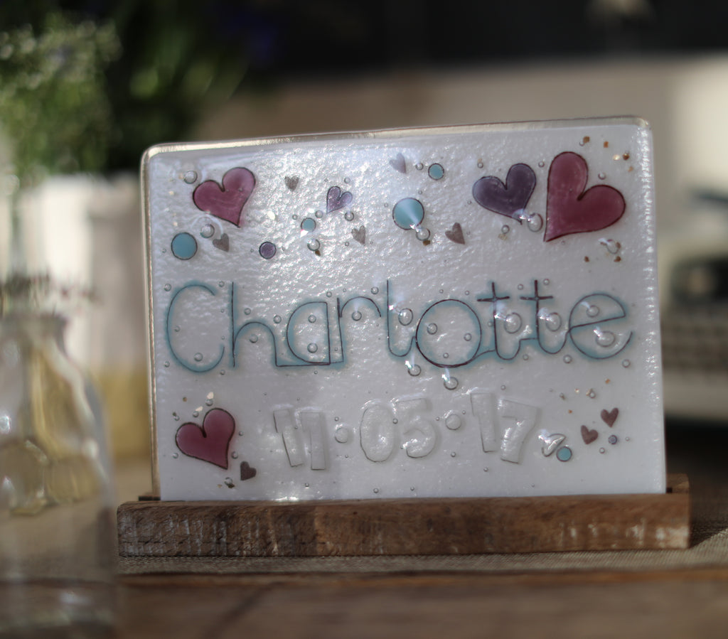 Hearts Design Personalised Couples Life Event (eg wedding) Glass Panel 200 x 150mm size in use on table
