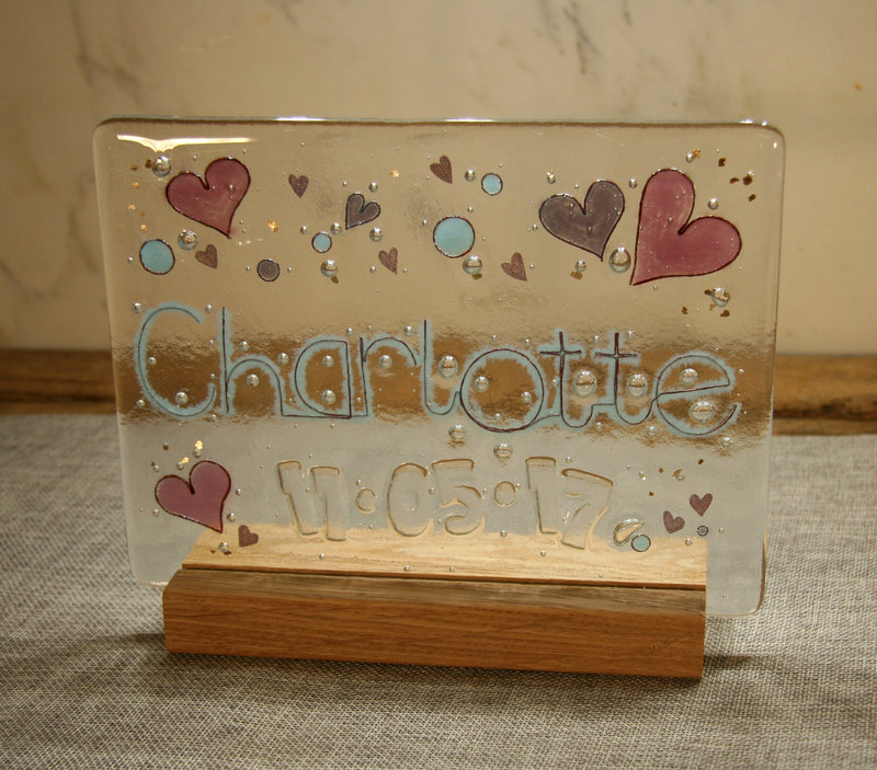 Hearts Design Personalised Life Event (eg birthday) Glass Panel 200 x 150mm size
