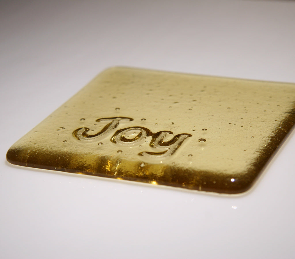 Well Made Stuff - Handmade Light Amber Transparent colour fused art glass Inspirational Joy Coaster - perfect as a gift or something for your home - really special message